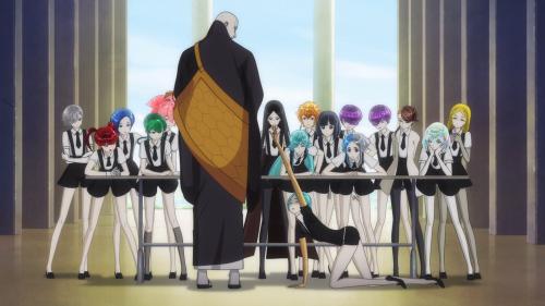 Houseki no Kuni / Episode 9 / Phos asking Sensei for help as the other rocks hound them