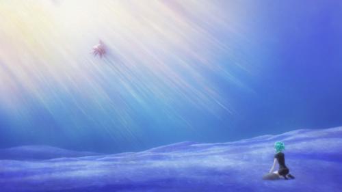 Houseki no Kuni / Episode 4 / Phos underwater with her newfound aquatic companion