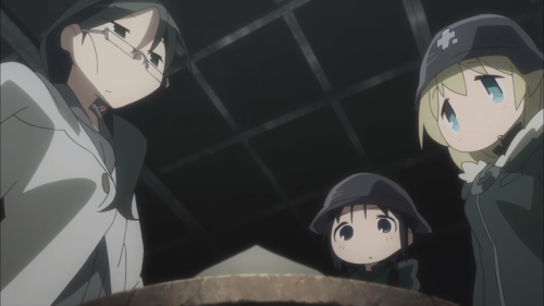 Shoujo Shuumatsu Ryokou / Episode 6 / Yuuri and Chito meeting and helping a friend they encountered along their journey