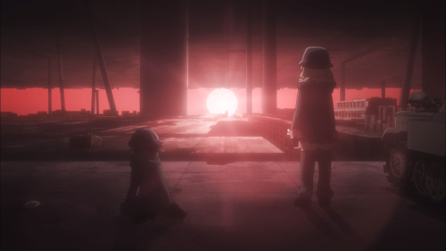 Shoujo Shuumatsu Ryokou / Episode 10 / Chito and Yuuri staring at a reddened sunset