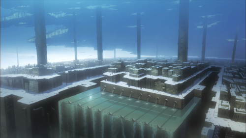 Shoujo Shuumatsu Ryokou / Episode 2 / A high-and-back establishing shot of the water and the concrete structures of a lower level in their world