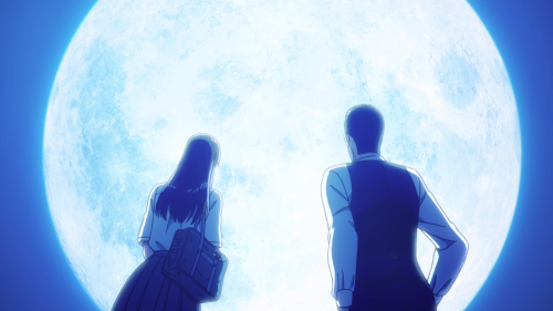 Koi wa Ameagari no You ni / Episode 9 / Akira and Mr. Kondou staring at a supermoon together