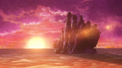 Kujira no Kora wa Sajou ni Utau / Episode 12 / The Mud Whale facing a red-purple sunset