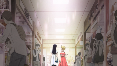 Koi wa Ameagari no You ni / Episode 6 / Akira and a friend walking down a lighted path