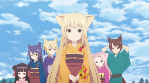 Konohana Kitan / Episode 8 / Yuzu and the other ladies standing together