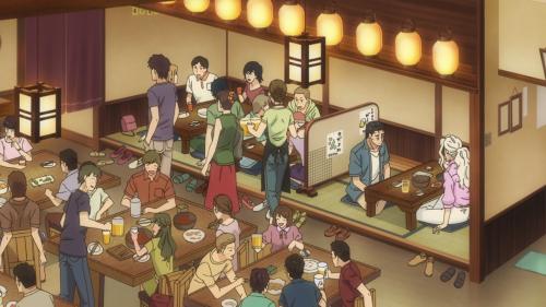 Koi wa Ameagari no You ni / Episode 9 / Mr. Kondou and Chihiro talking amidst a bustling restaurant