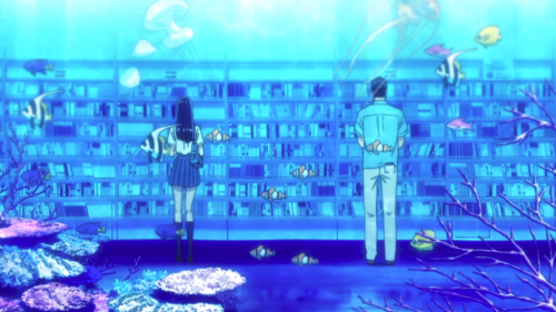 "Koi wa Ameagari no You ni / Episode 6 / Akira and Mr. Kondou in an ""aquarium"" at the library"
