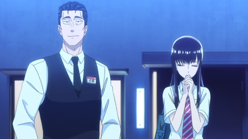 Koi wa Ameagari no You ni / Episode 9 / Mr. Kondou and Akira standing together beneath a really bright moon