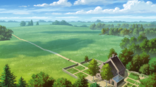 Mahoutsukai no Yome / Episode 24 / An aerial view of their quaint home