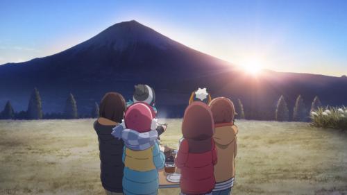 Yuru Camp△ / Episode 12 / The main cast and their new advisor enjoying a sunrise over Mt. Fuji