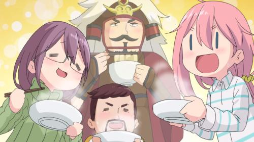 Yuru Camp△ / Episode 9 / Nadeshiko and her parents enjoying Chiaki's houtou dish