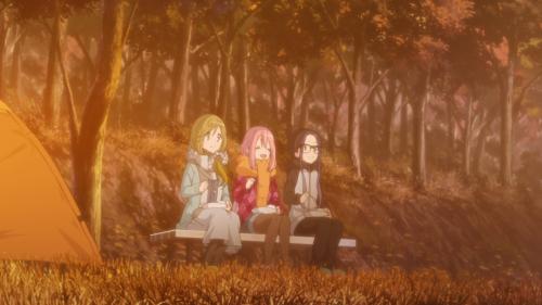 Yuru Camp△ / Episode 5 / Aoi, Nadeshiko, and Chiaki enjoying both food and nature