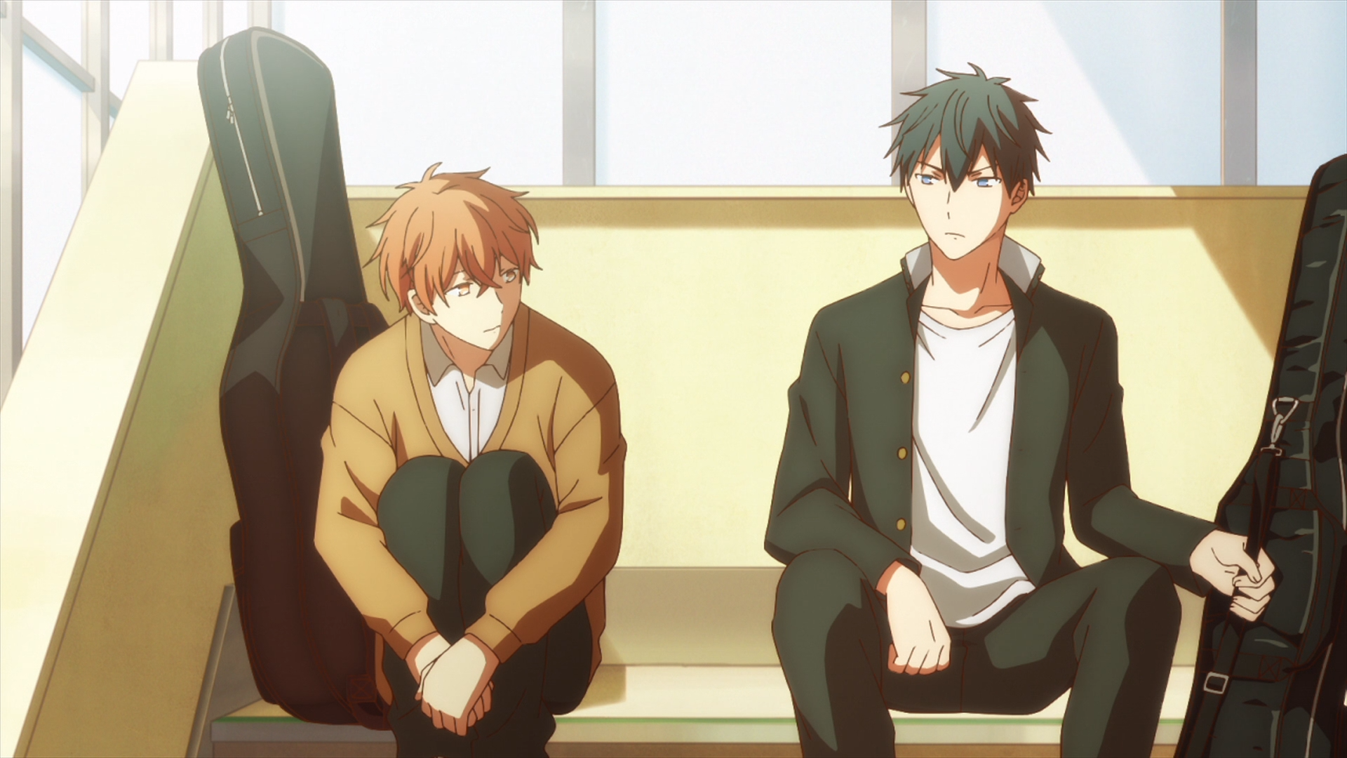 Given / Episode 2 / Mafuyu and Ritsuka sitting and talking together at their favorite spot